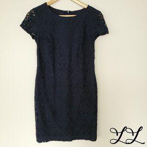 Banana Republic Dress Navy Blue Short Sleeve Lace